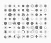Fényképek Komplett 80 fekete csillagok, a virágok, a napsugarak, hópelyhek, jelek és szimbólumok ikonok, fehér háttér