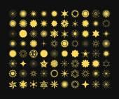 Fényképek Komplett 80 arany csillag, a virágok, a napsugarak, hópelyhek, jelek és szimbólumok ikonok-on fekete háttér