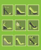 Photo Unique green women shoes icons set