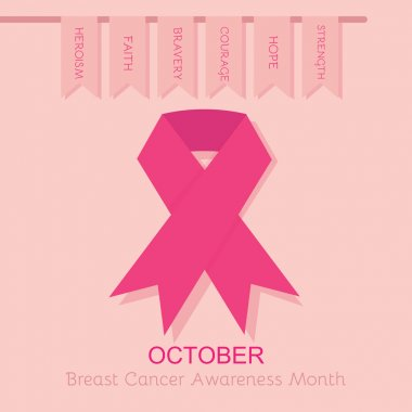 Breast Cancer Awareness pink ribbon poster