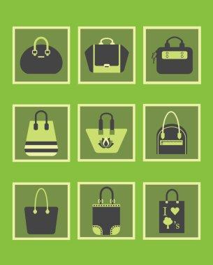 Unique green women purse and handbags icons set