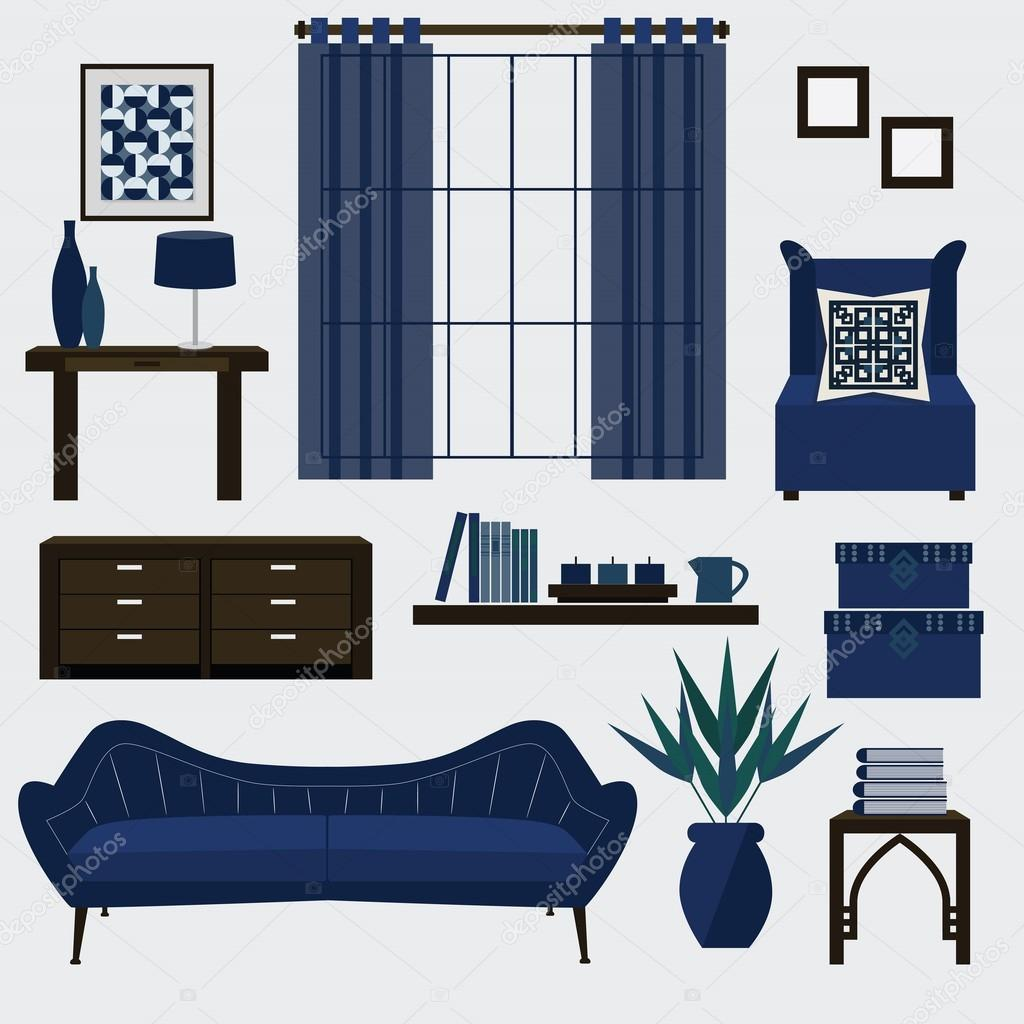Living room furniture and accessories in color navy blue — Stock ...