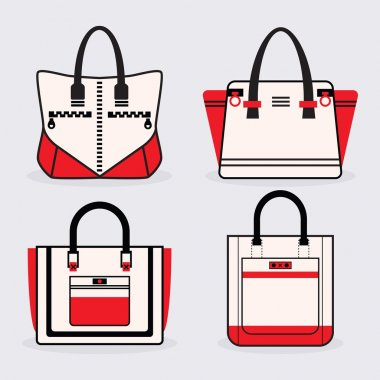 Fashionable women red, black and white purse icons set