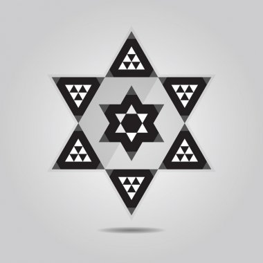 Abstract geometrical triangle tile hexagram icon on gray gradient background