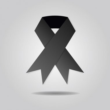 Abstract single black ribbon on gray gradient background