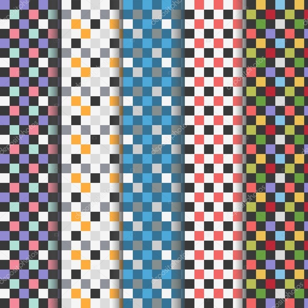 09643153ec93 Insieme dei reticoli senza cuciture a quadretti colorati astratti–  illustrazione stock