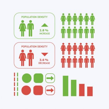 Male and Female silhouette icons - Population density iconographic design elements