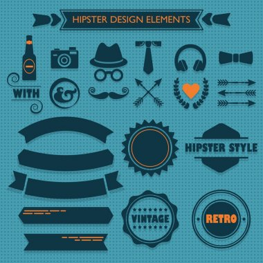 Hipster design elements set on blue dotted seamless pattern background