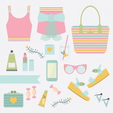 Pink and teal ladies summer fashion clothing and accessories on white background