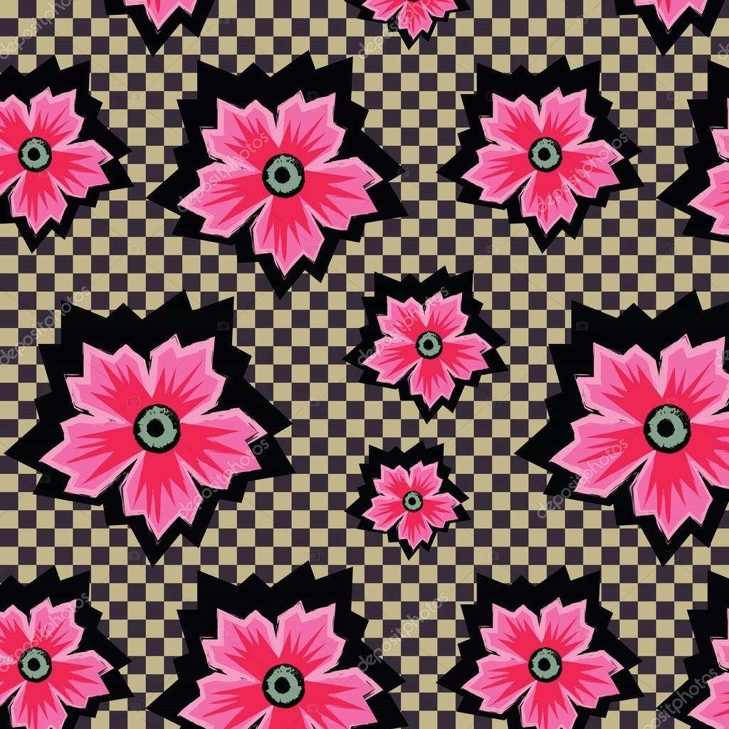 Retro exotic pink flowers on checkered background pattern