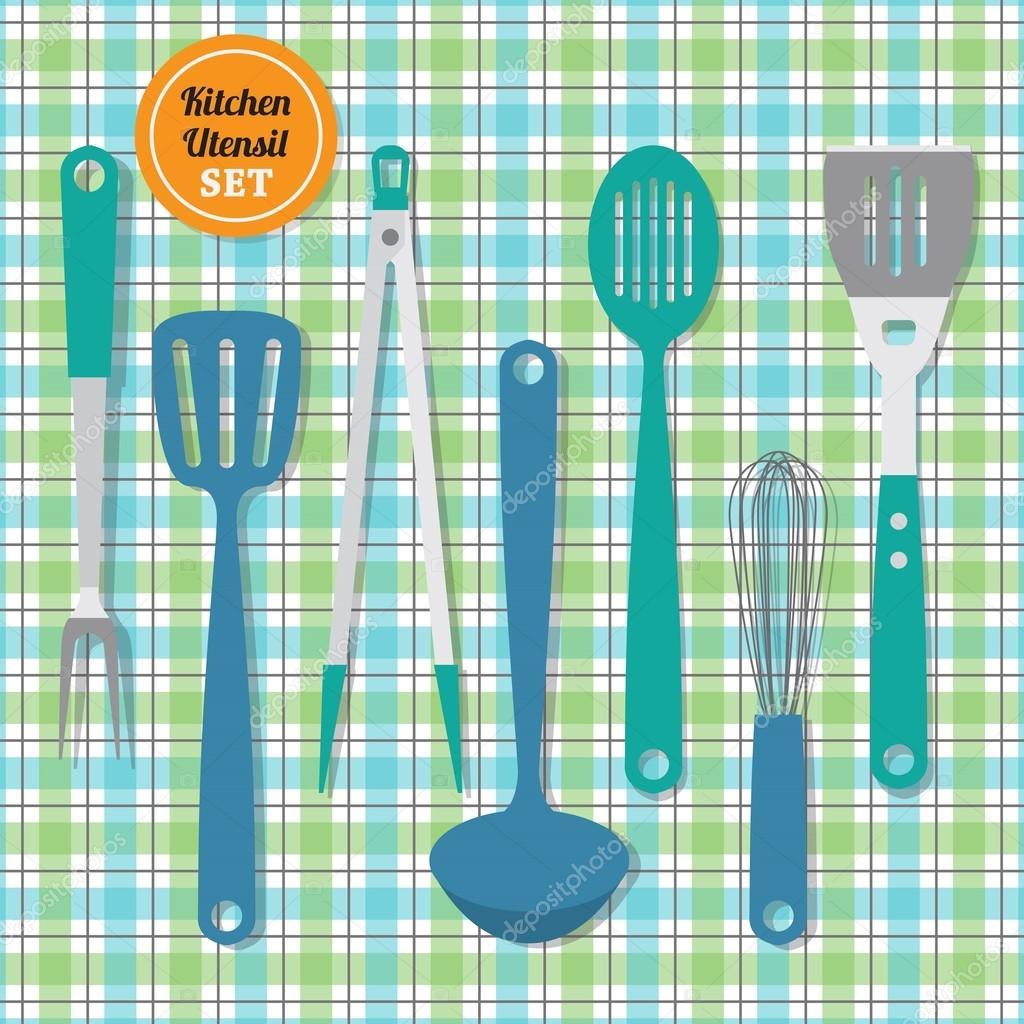 Küchengeräte set Symbole auf blau und grün karierte Muster ...