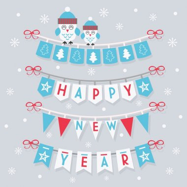 Happy New Year buntings and decoration with two cute owls on snowing background