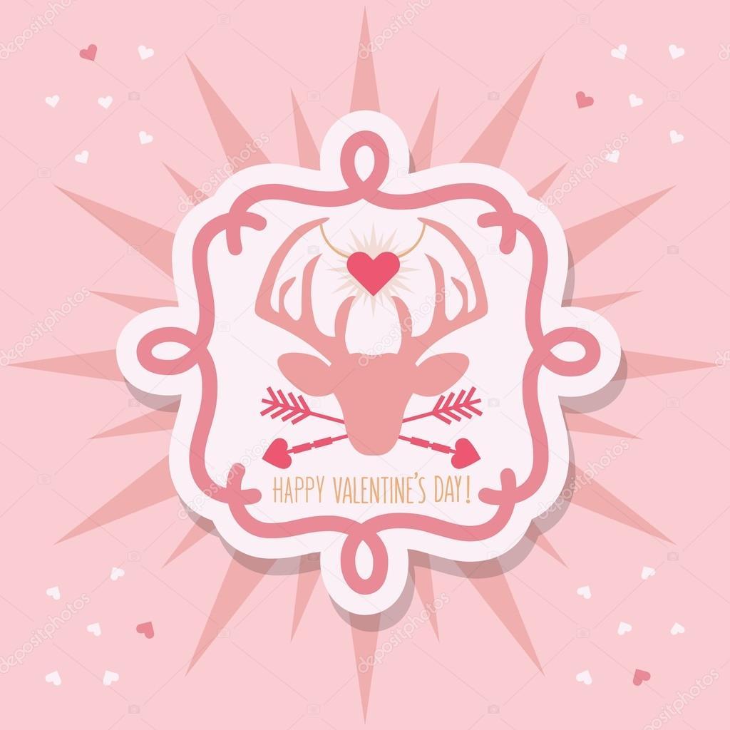 かわいい幸せなバレンタインの日鹿エンブレム ステッカーとピンク背景に