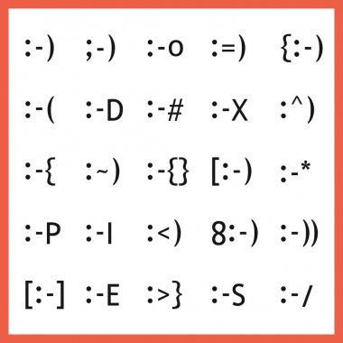 Popular facial expression font type character faces, emoticons and icons set on white background