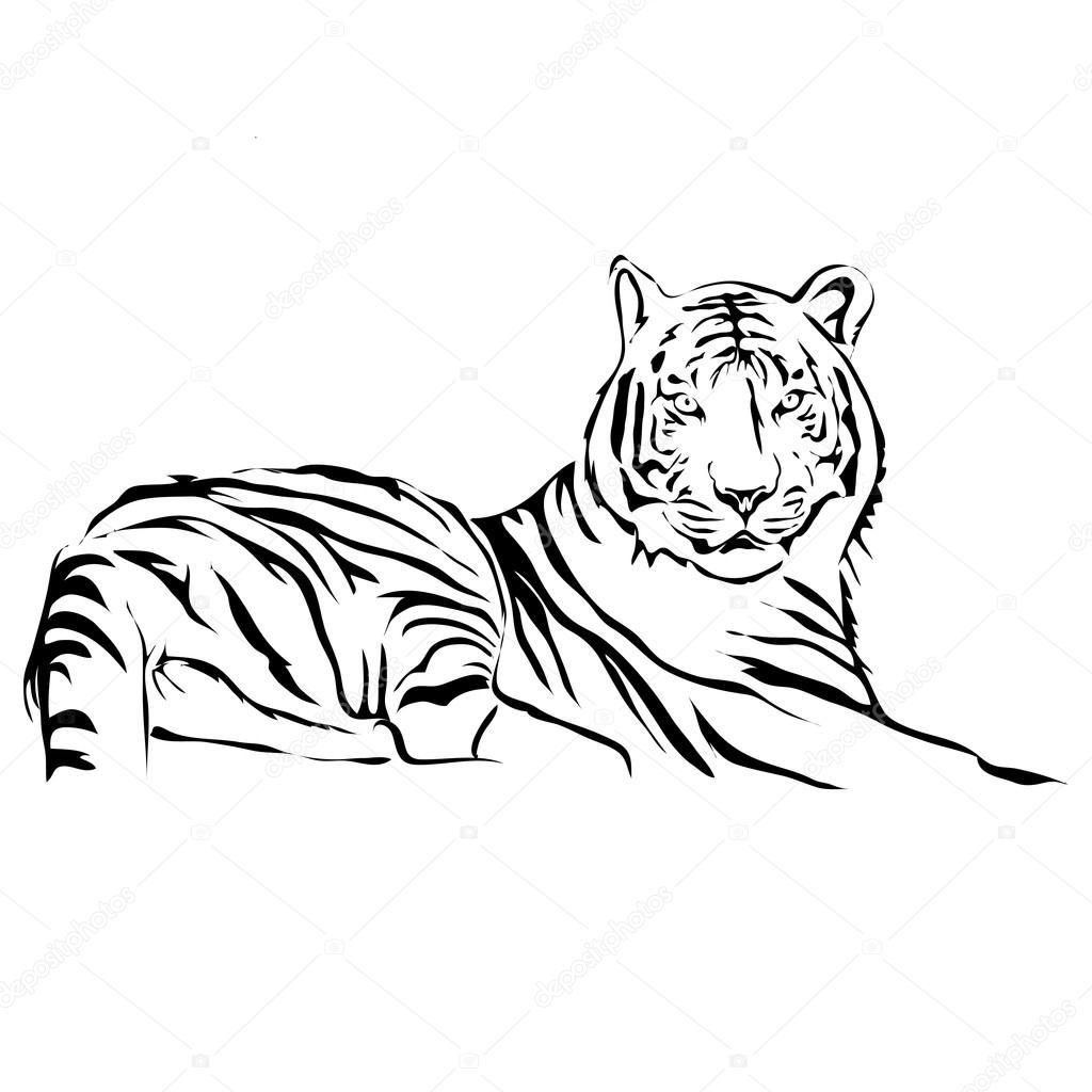 Liegend-Tiger-Vektor-Bild zu skizzieren. Für Logo und Tattoo können ...