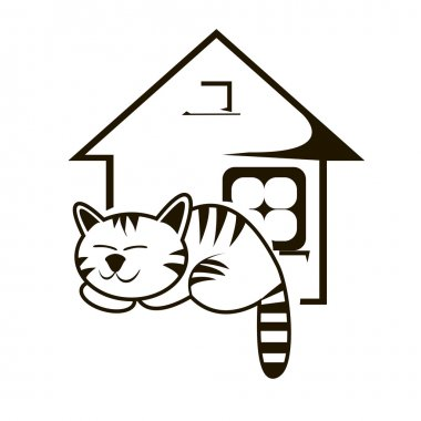 Sleeping cat and house vector illustration. Vet clinic or animal