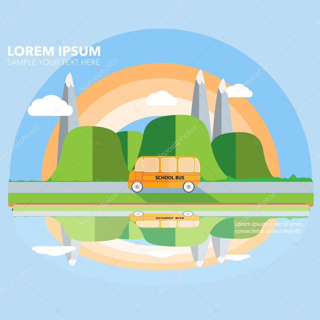 Mountains, hills, clouds, school bus and rainbow flat design cre