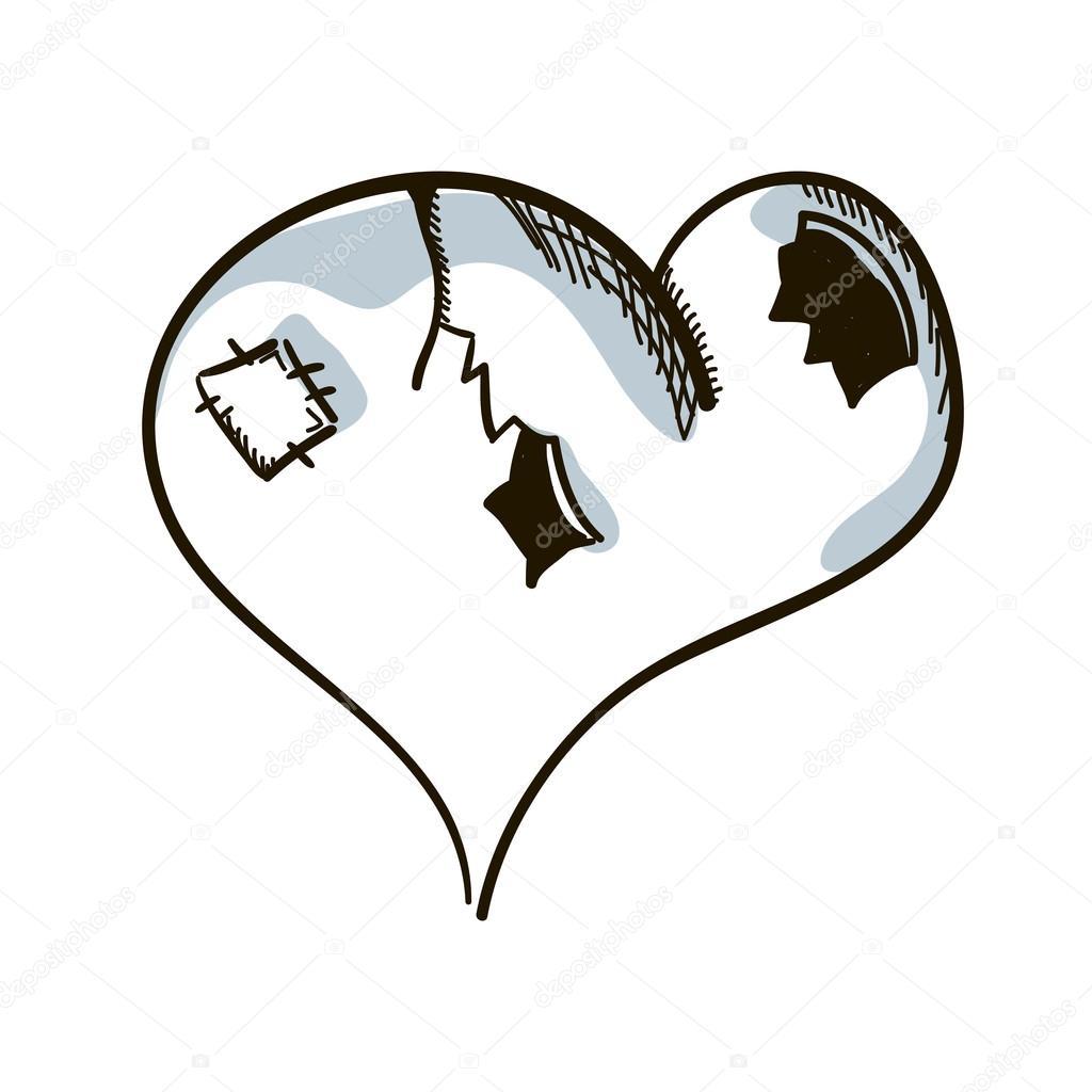 Corazón Roto Dibujados A Mano Dibujo Vector Ilustración Vector De
