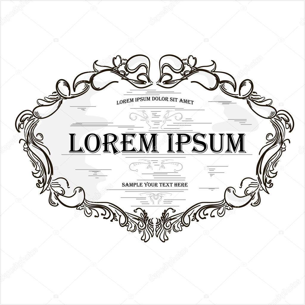 Vintage Hand Drawn Engraving Design Floral Frame With Text Box Stock Vector