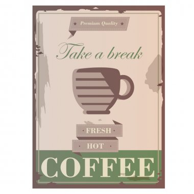Vintage retro design hot fresh coffee promotion flyer and cover