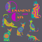 Sada barevných koček s mandala ornament