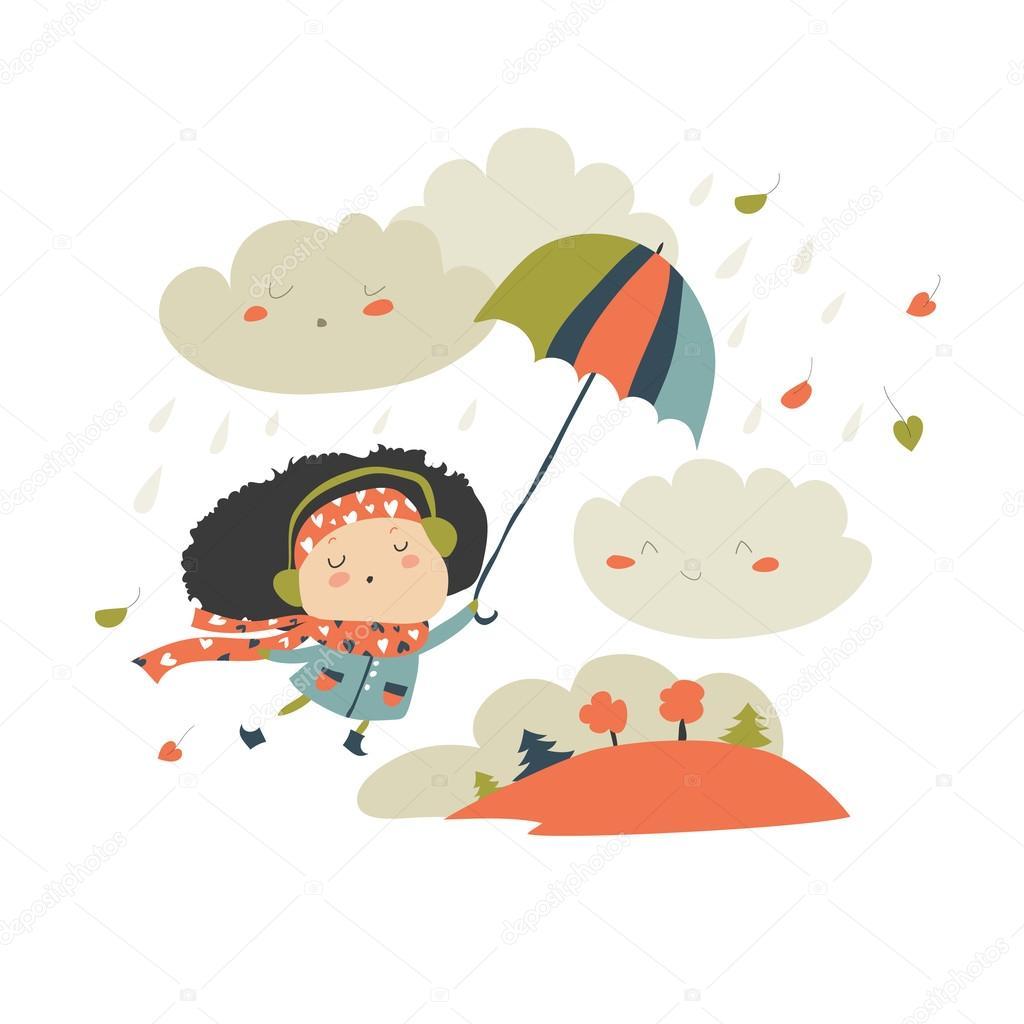 Girl flying with umbrella