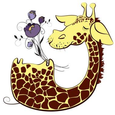 Cute giraffe with bunch of flowers