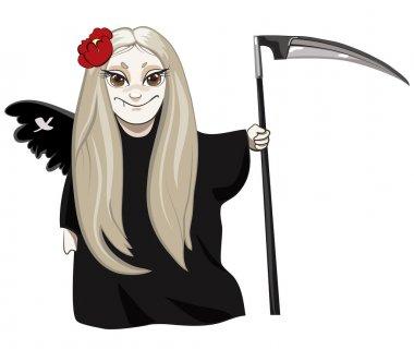 Cute death cartoon character with flower in hair holding scythe stock vector