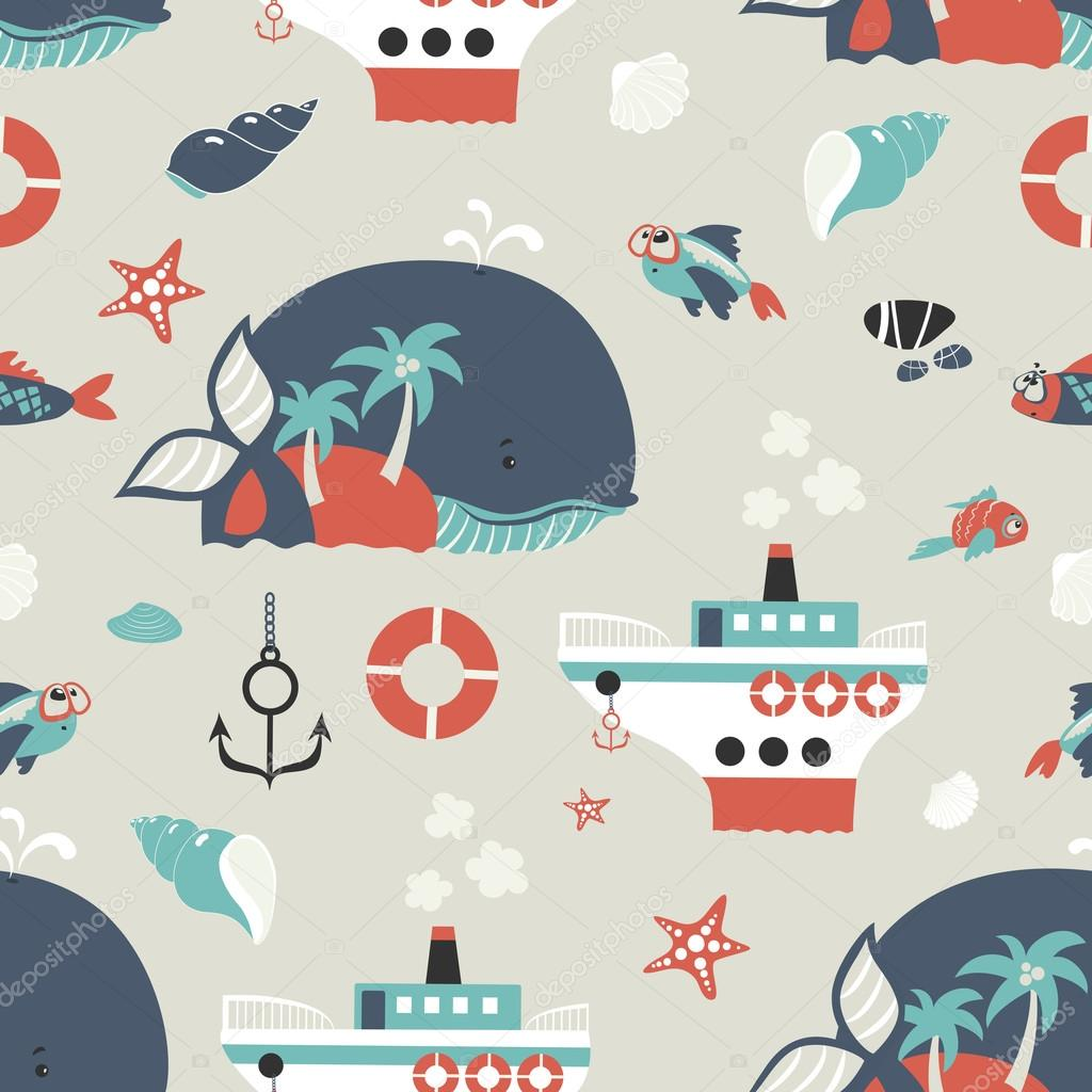Seamless vector background with sea objects