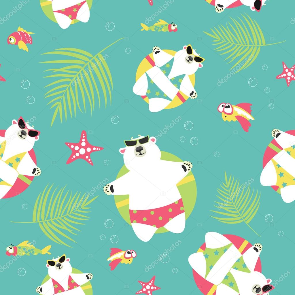 Seamless vector background with polar bears and sea