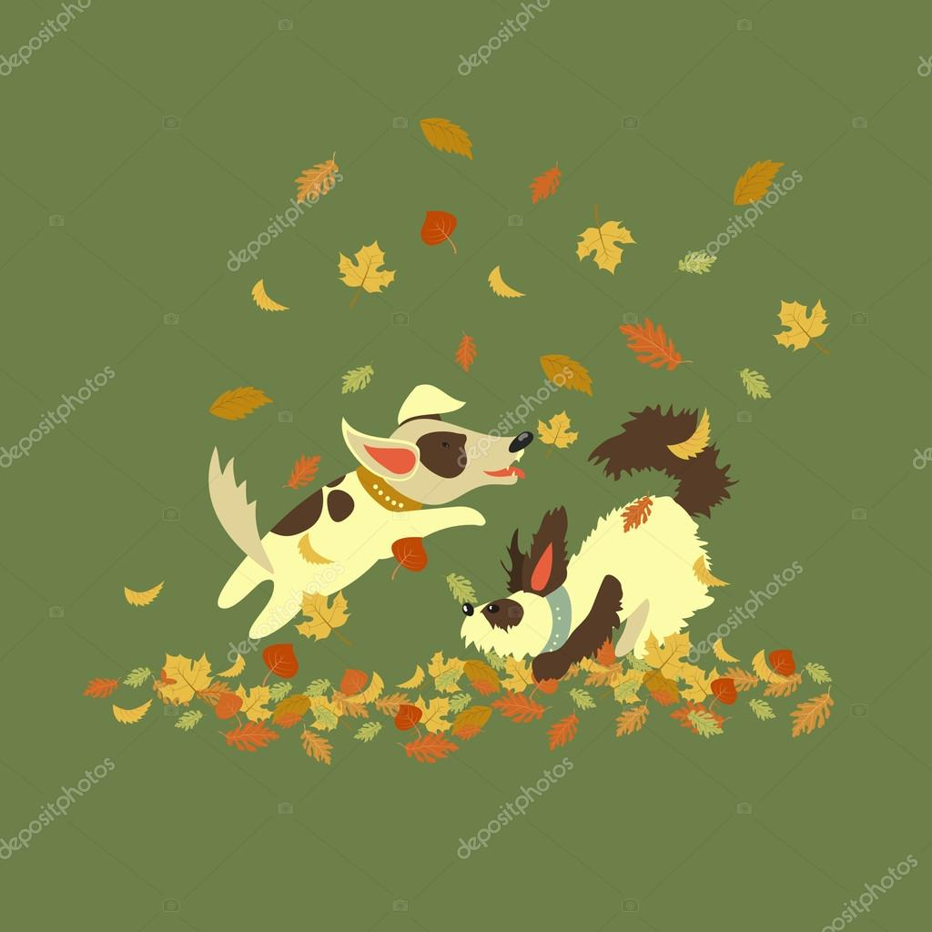 Funny dogs playing with autumn leaves