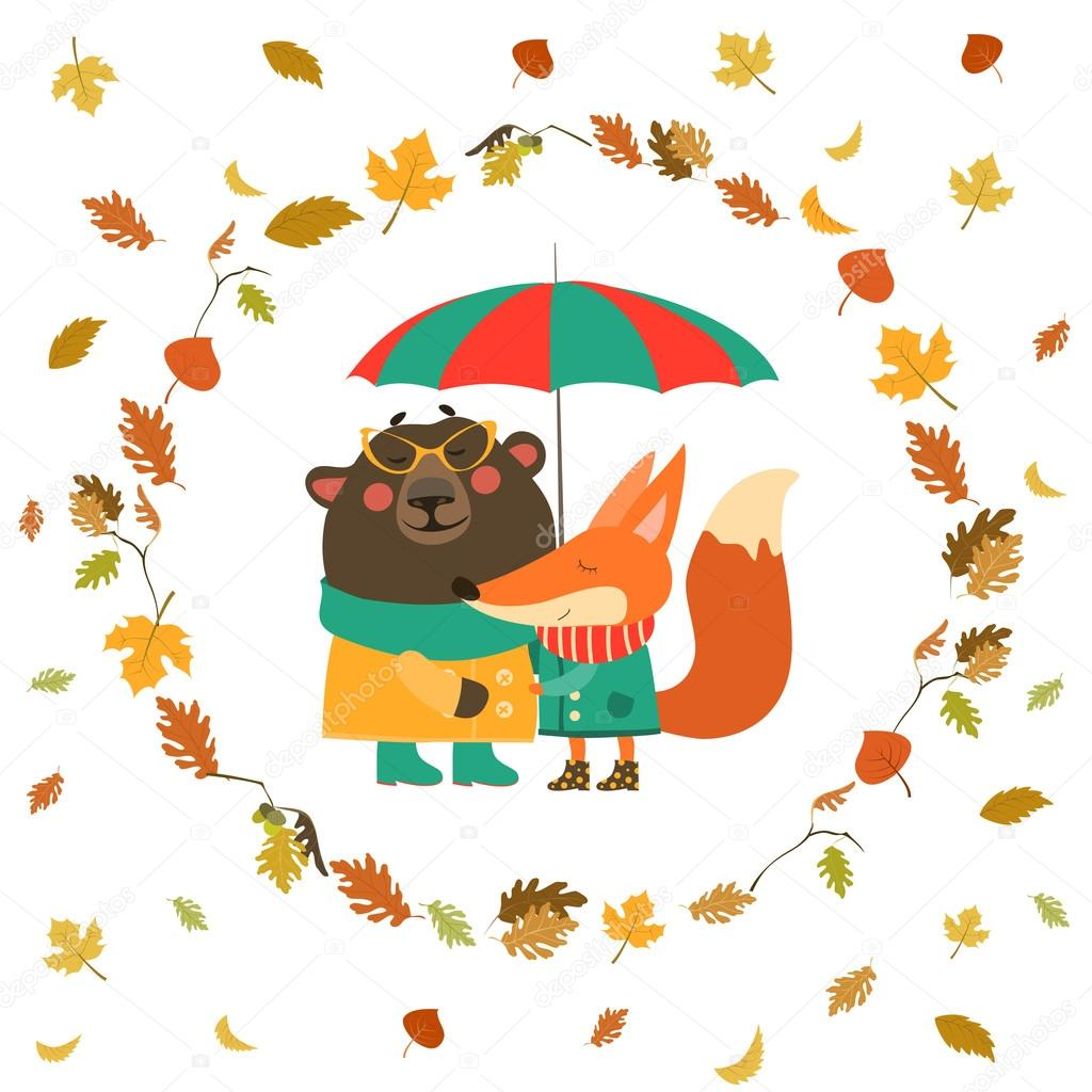 Cute fox and bear hugging under umbrella in wreath of autumn leaves