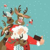 Fotografie Santa and reindeers take a selfie