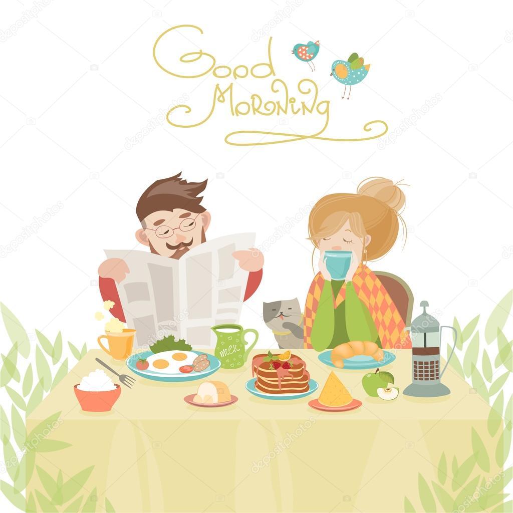 Couple amoureux prenant son petit d jeuner image - Image petit dejeuner amoureux ...