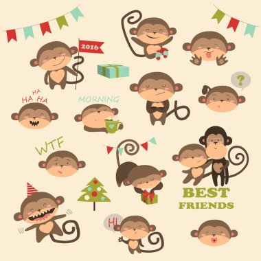 Christmas vector set with monkey for 2016 New Year