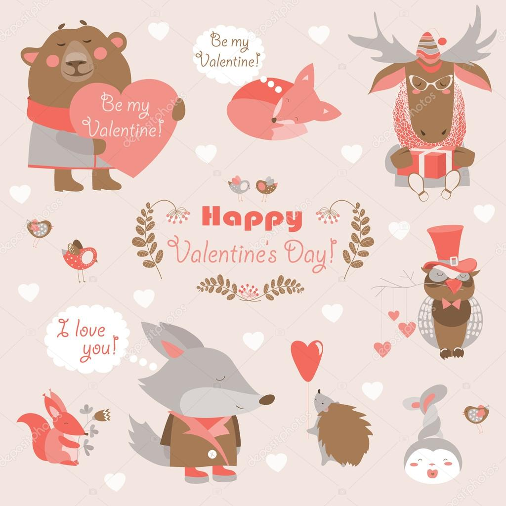 Valentine set of fun animals with hearts and flowers