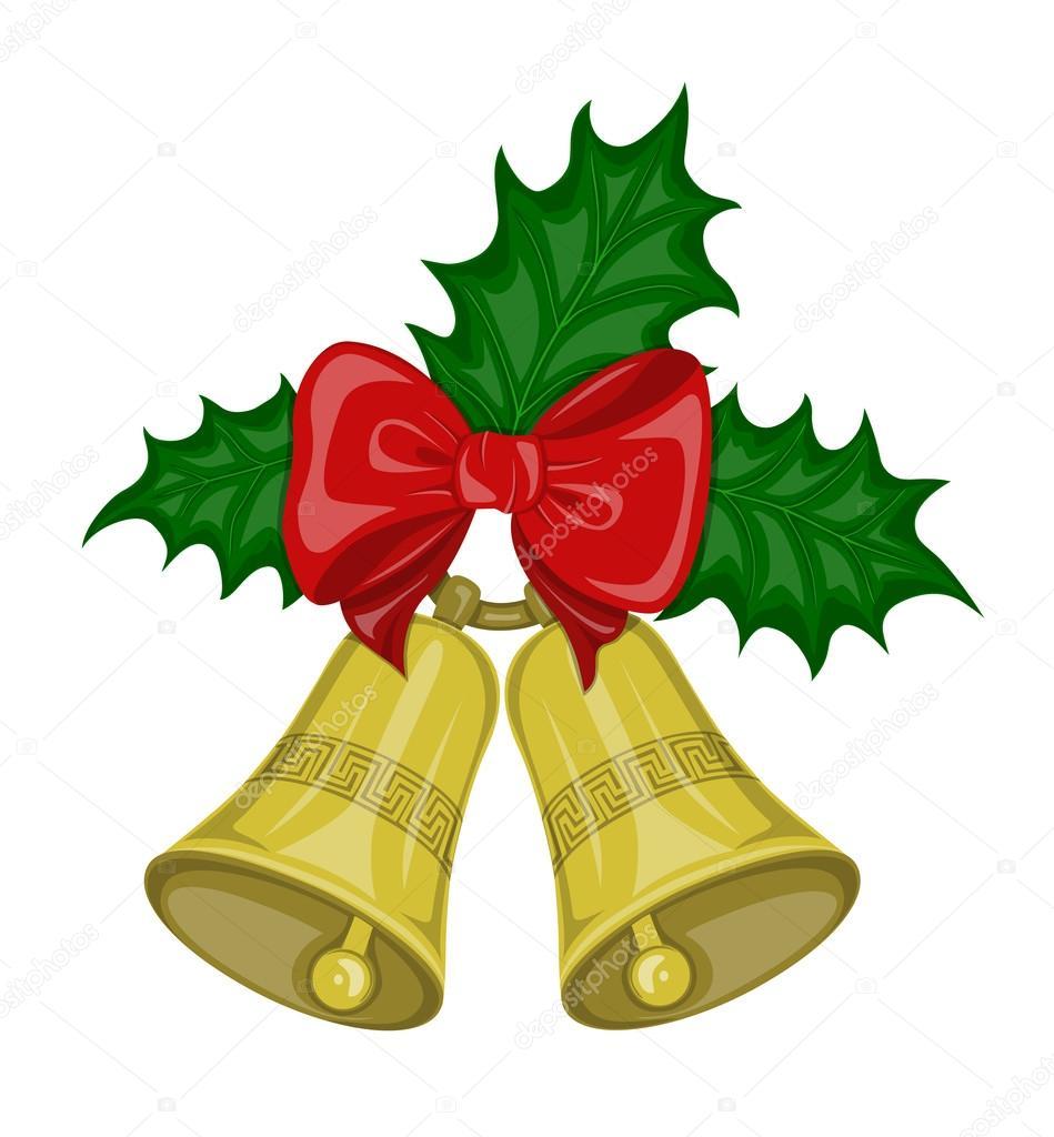 Noël Cloches Avec Archet Et Feuilles De Houx Image