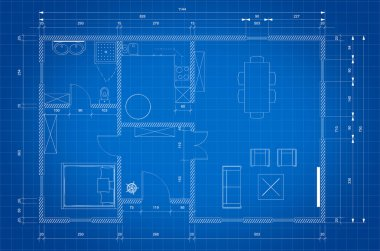 Blueprint of architect plan for house construction