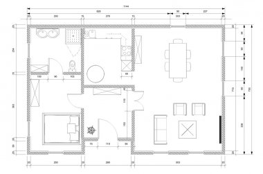 White architect plan for personnal house construction stock vector