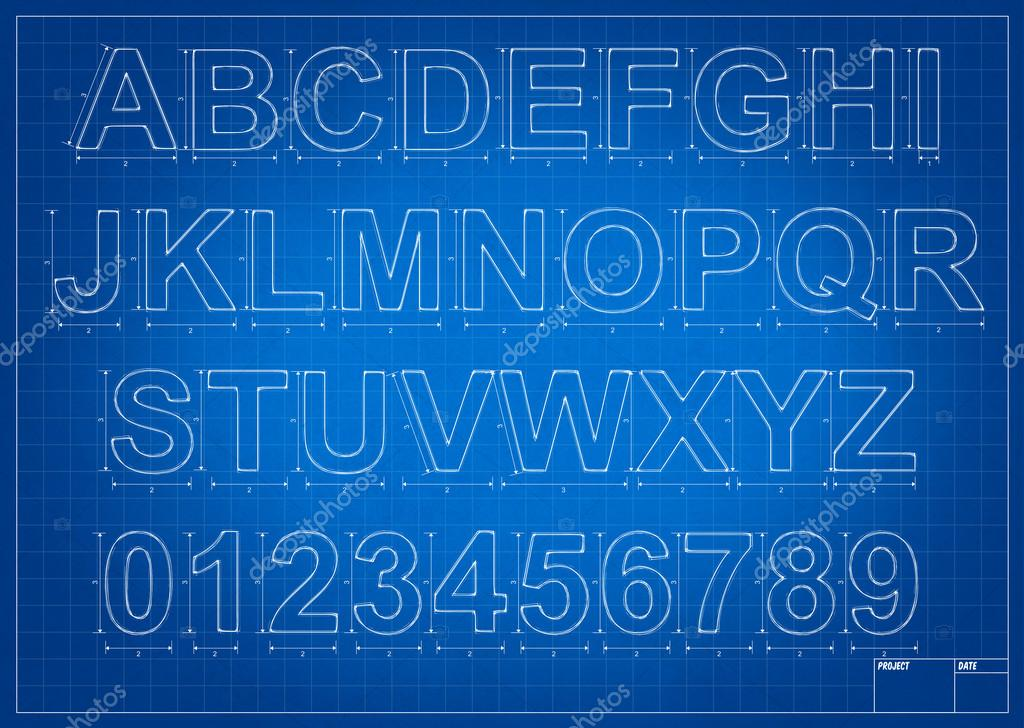 Architect blueprint alphabet letters stock photo studio3321 architect blueprint alphabet letters with mesure and lines photo by studio3321 malvernweather Image collections