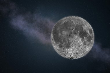 Moon in the sky with star