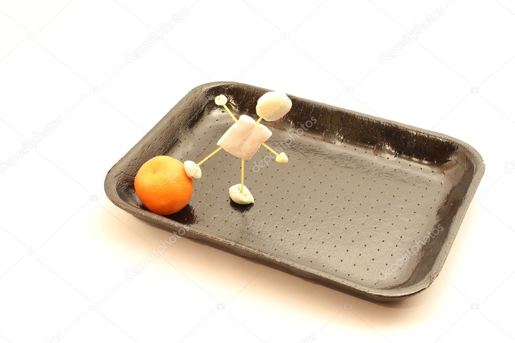 Puppet pushes food on the tray