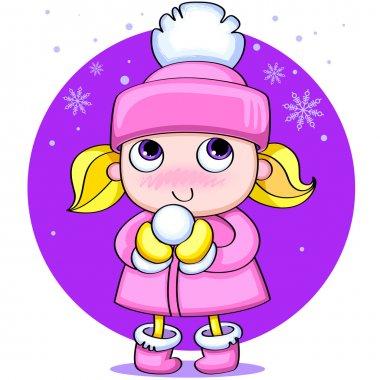 Little cute girl with a snow ball