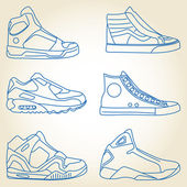 Vektor-Set skizzierter Schuhe