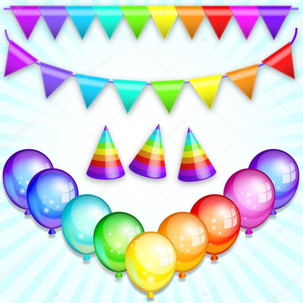 Rainbow Bunting Banner Garland, holiday hats and balloons.