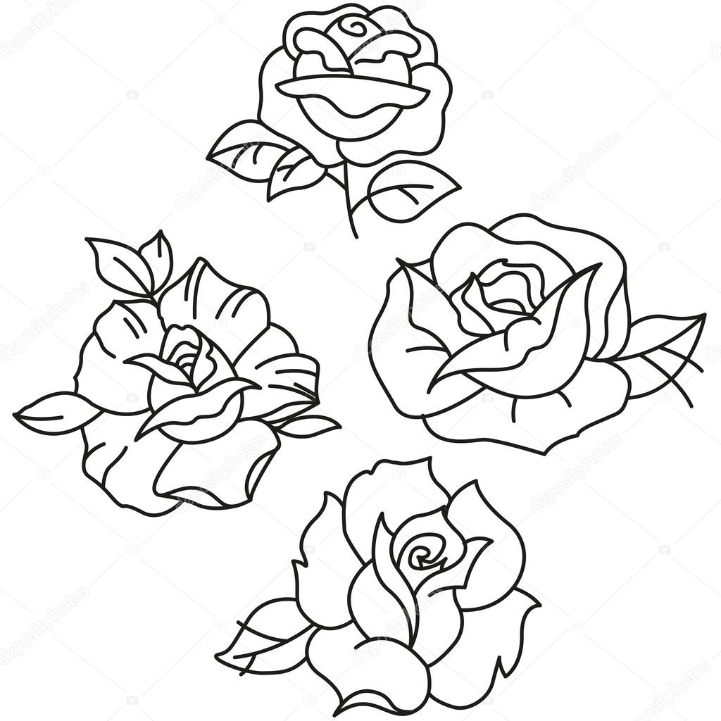 Traditional Tattoo Roses Stock Vector