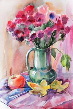 Watercolor autumn still life with apples and bouquet