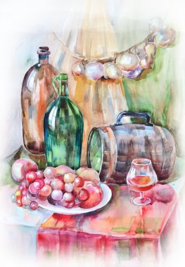 Watercolor still life with bottles, kegs and fruit