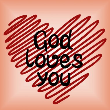 God loves you, done in red heart