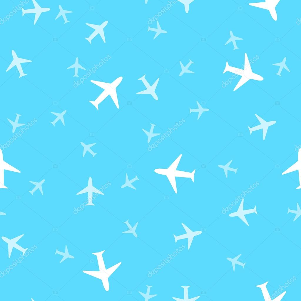 空に飛行機のシームレスな背景パターン。ベクトル病気 — ストック